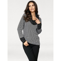 Ashley Brooke by heine Damen Rollkragenpullover schwarz/weiß